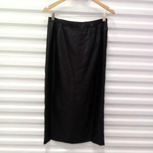 Talbots Silk Black Taffeta Midi Skirt Size 8 New